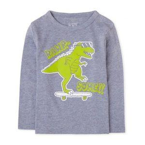 NWT PLACE Gray Green Dinosaur 🦖 Shirt Top 18-24mo